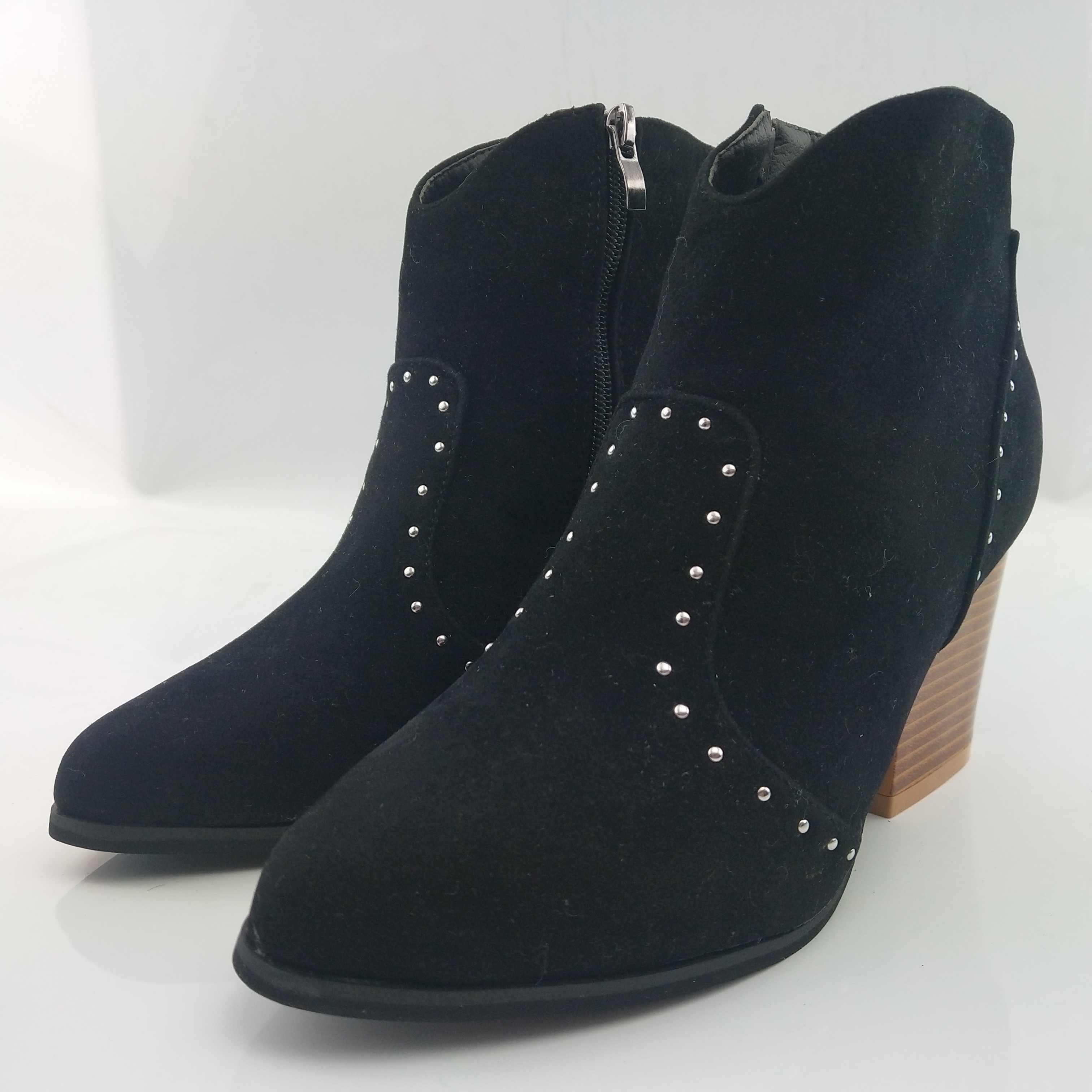 Puimentiua Rivet moto bottes femmes bottines Cowboy chaussures 2019 gothique automne boucle talons hauts fermeture éclair latérale botte courte