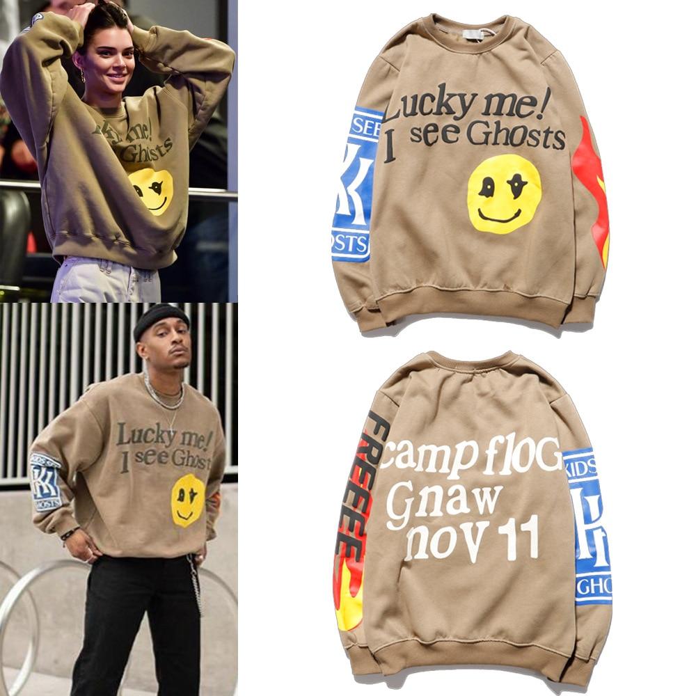 KANYE Smiley Flame Print Round Neck Sweatshirt Men and Women Plus Velvet Streetwear Stranger Things Hoodie Pullover Mens Hoodies