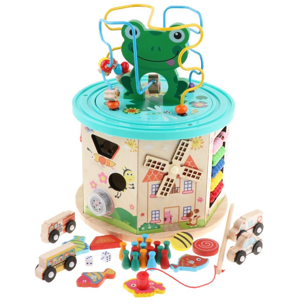 Cube d'activité en bois-labyrinthe de perles, jeu d'engrenages, trieur de formes, centre d'activités de jouets boulier pour enfants de 1 an + développement précoce - 2