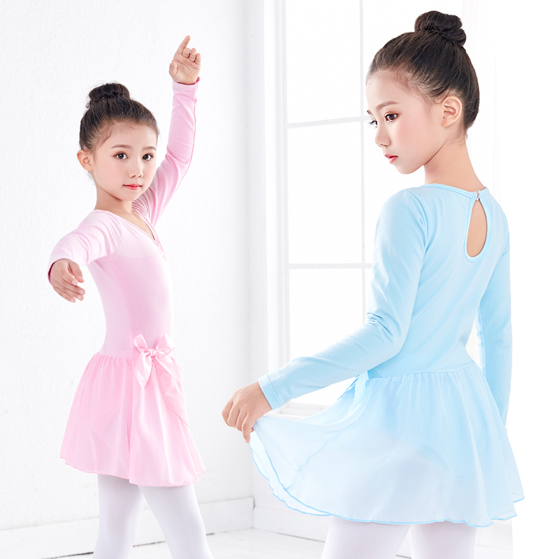 Kids Girl платье Ballet Gymnastics Leotard Dress Performance Long/Short Sleeve Dance Leotard Dancewear Clothes with Chiffon Tie