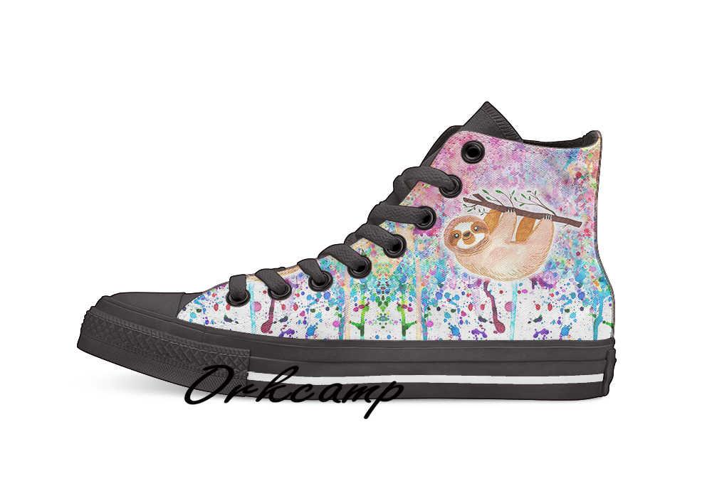 Aquarel Luiaard Regenboog Verf Custom Casual Hoge Top Lace-Up Canvas Schoenen Sneakers Drop Shipping