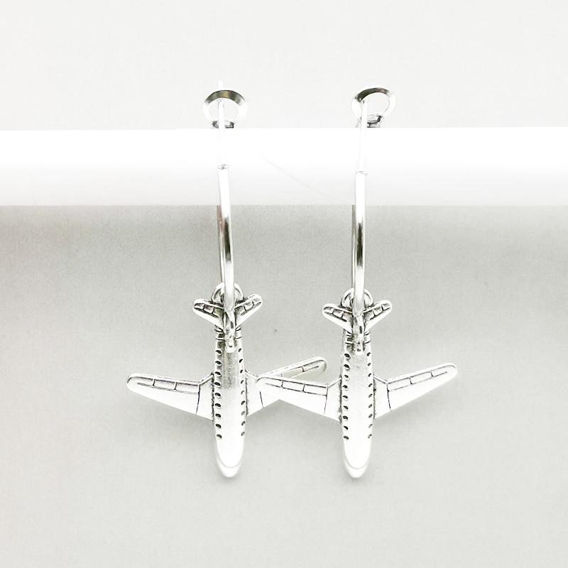 New Cute Aircraft Model Earrings Earrings Civil Airliner For Female Gifts Souvenir Travel Small Ear Hoops Hoop Earings