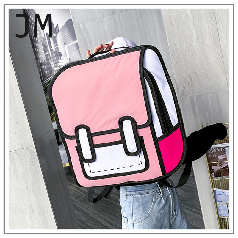 Fashion Bookbag Luxury Backpack Women Teenager Creative 2D Drawing Backpack 3D Stereo Comic Bags Girls Boys Jump Style Cartoon