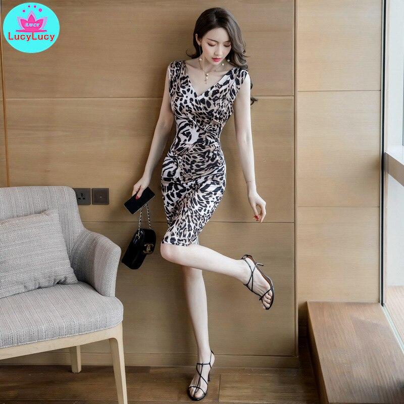 2019 New Temperament Sleeveless Night  Women's Sexy V-neck Leopard Bag Hip Female Dress Knee-Length  Sheath