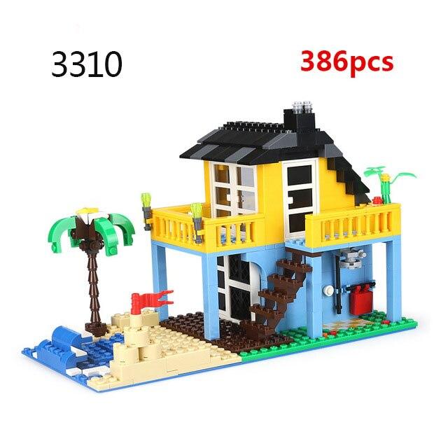 Городская архитектура вилла модель коттеджа Совместимость Legoingly друзья пляж хижина модульный дом деревенские строительные блоки детские игрушки - Цвет: 3310