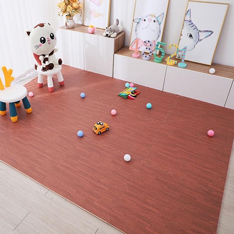 Wood Grain Puzzle Mat Baby Foam Play Splicing Bedroom Thicken Soft Modern Floor Kids Rug Living Room Crawling Carpet 8