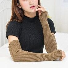 Manchettes en laine tricotée pour femme, mancherons fins et longs, sans doigts, chauds et doux, hiver