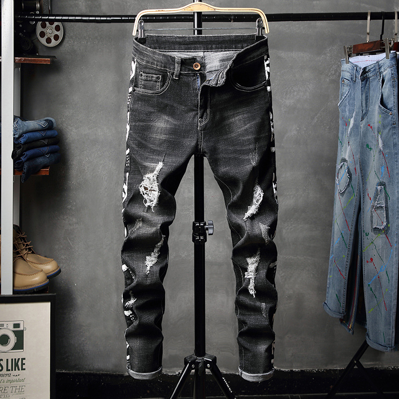 Autumn And Winter New Style Men's-Style Black Ripped Elasticity Skinny Tight-Fit Printed Jeans Fashion Fashion Pants 1634