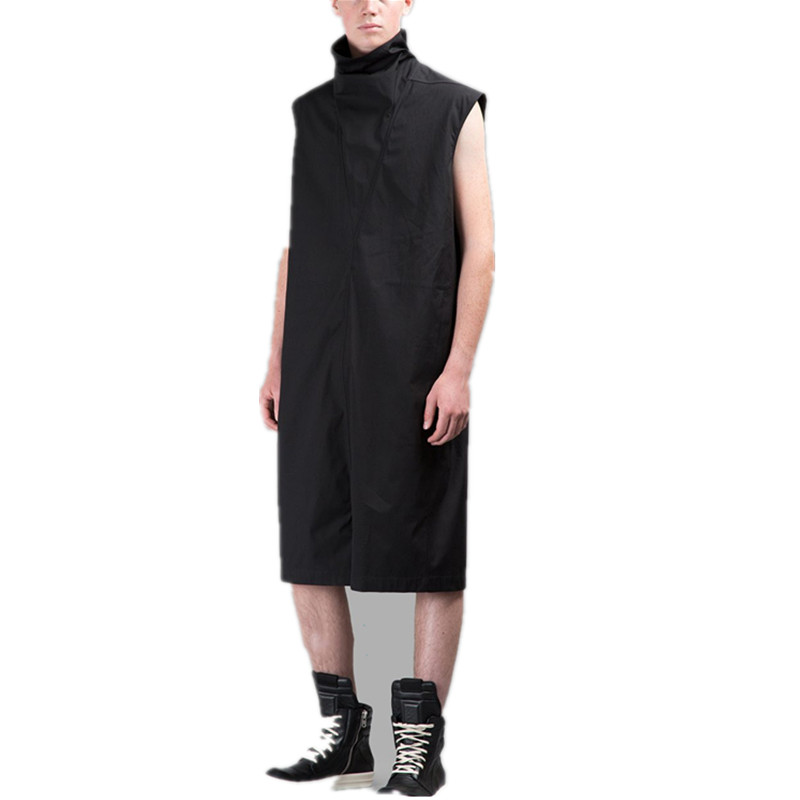 Trendy Male Hairdresser Europe And America Dark Style Black Jumpsuit Personality Stand Collar Loose Jumpsuit Overalls Overalls