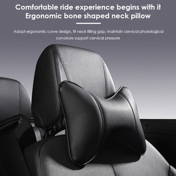 Car Neck Pillows Both Side PU Leather Single Headrest Fit for Most Cars Filled Fiber Auto Safety Head Neck Rest Relax Pillow image