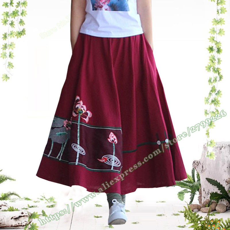 2020 Spring and Summer Retro Casual big flower skirt Plus large size  7XL 6XL Women's cotton and linen female Skirts for Womens