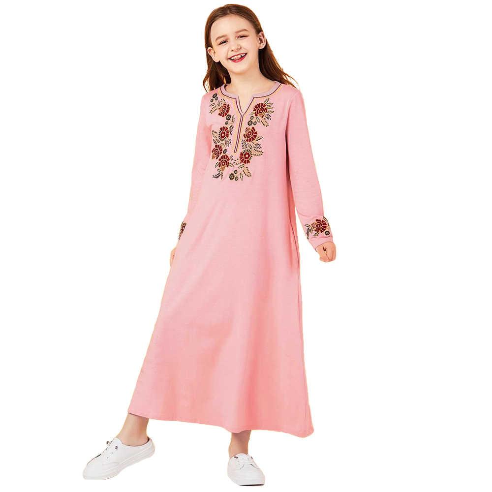 Muslim Kids Girls Long Dress Abaya Islamic Cocktail Party Jilbab Kaftan Ramadan