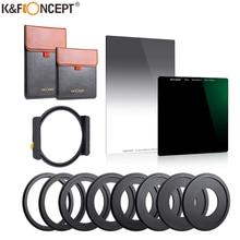 K & F Concept ND1000 + GND8 kwadratowy filtr wielowarstwowy filtr o neutralnej gęstości z jednym uchwyt filtra 8 sztuk pierścień filtra adaptery