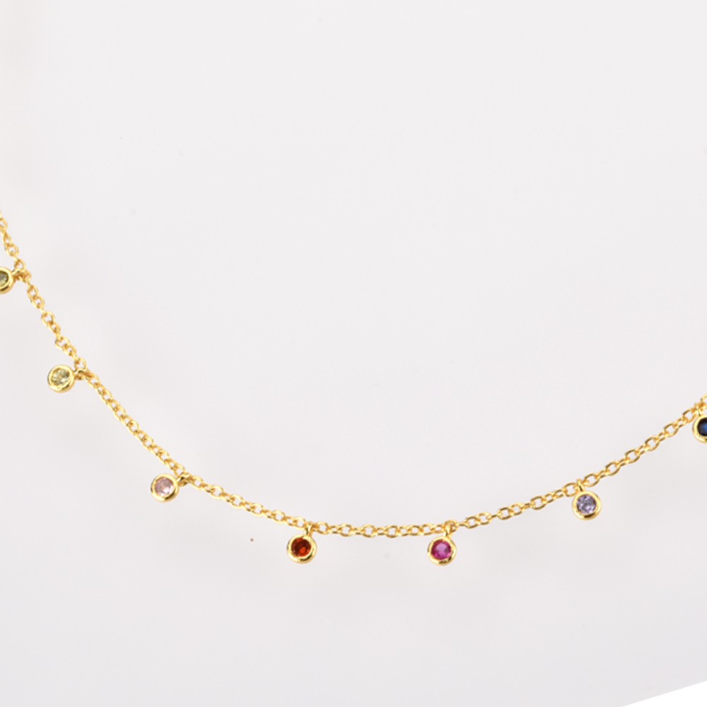 ANDYWEN 925 Sterling Silver Gold Rainbow Zircon Charm Choker Chain Necklace Rock Punk Party New Beads Pendant 2020 Fine Jewelry