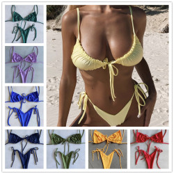 2020 Women Solid Bikini Set Sexy Bikinis Low Waist Swimwear Bathing Suit Summer Retro Swimsuit Female Yellow Beach Wear Biquini