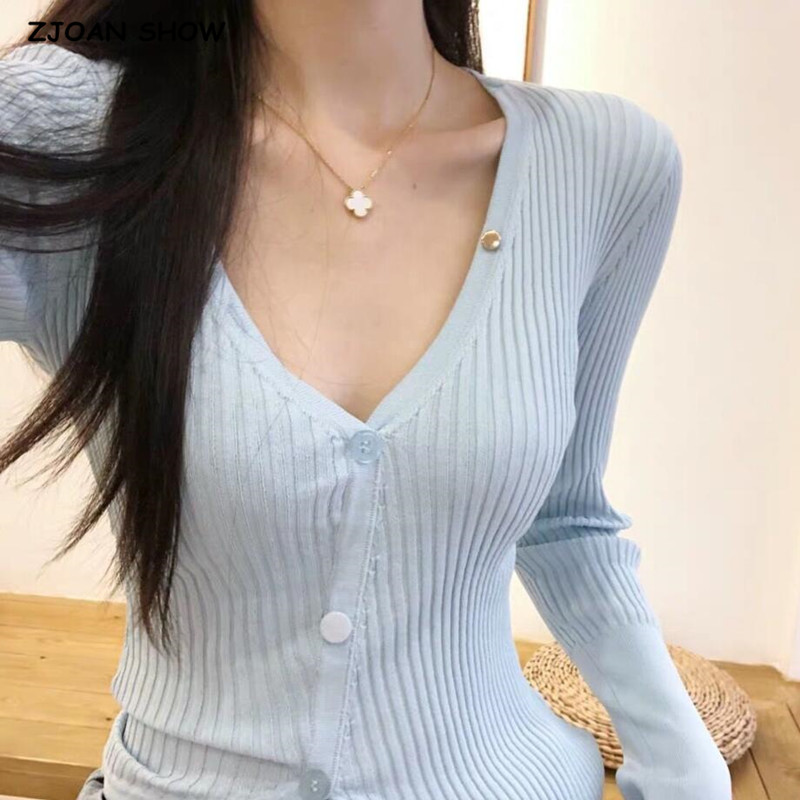 2019 Autumn Korea Style Vintage Stripe Line Cardigan Jennie Skyblue V Neck Single-breasted Button Sweater Short Slim Sexy Jumper