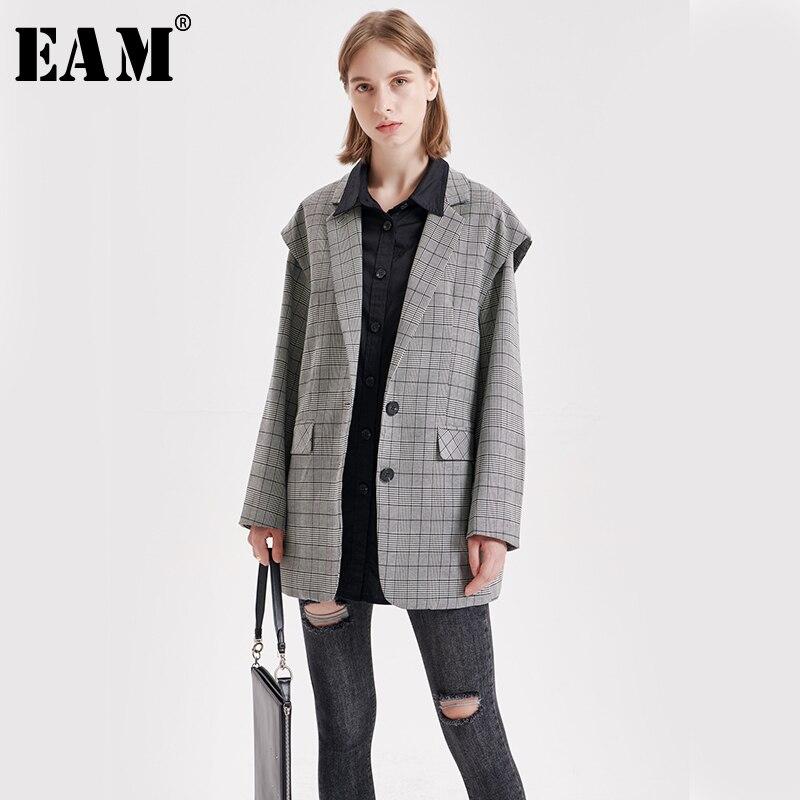 [EAM]  Women Plaid Shirt Split Two Piece Blazer New Lapel Long Sleeve Loose Fit  Jacket Fashion Tide Spring Autumn 2019 1B510