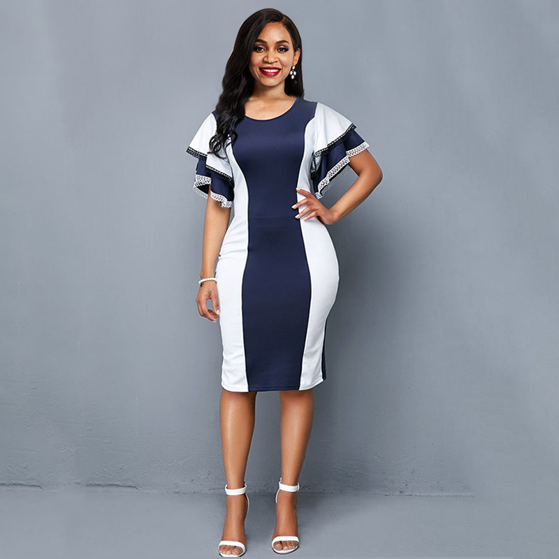 Sisjuly Sexy Bodycon Office Dress Women Elegant Stripe Ruffle Slim Vintage Plus Size Party Ladies Casual Blue Summer Dresses