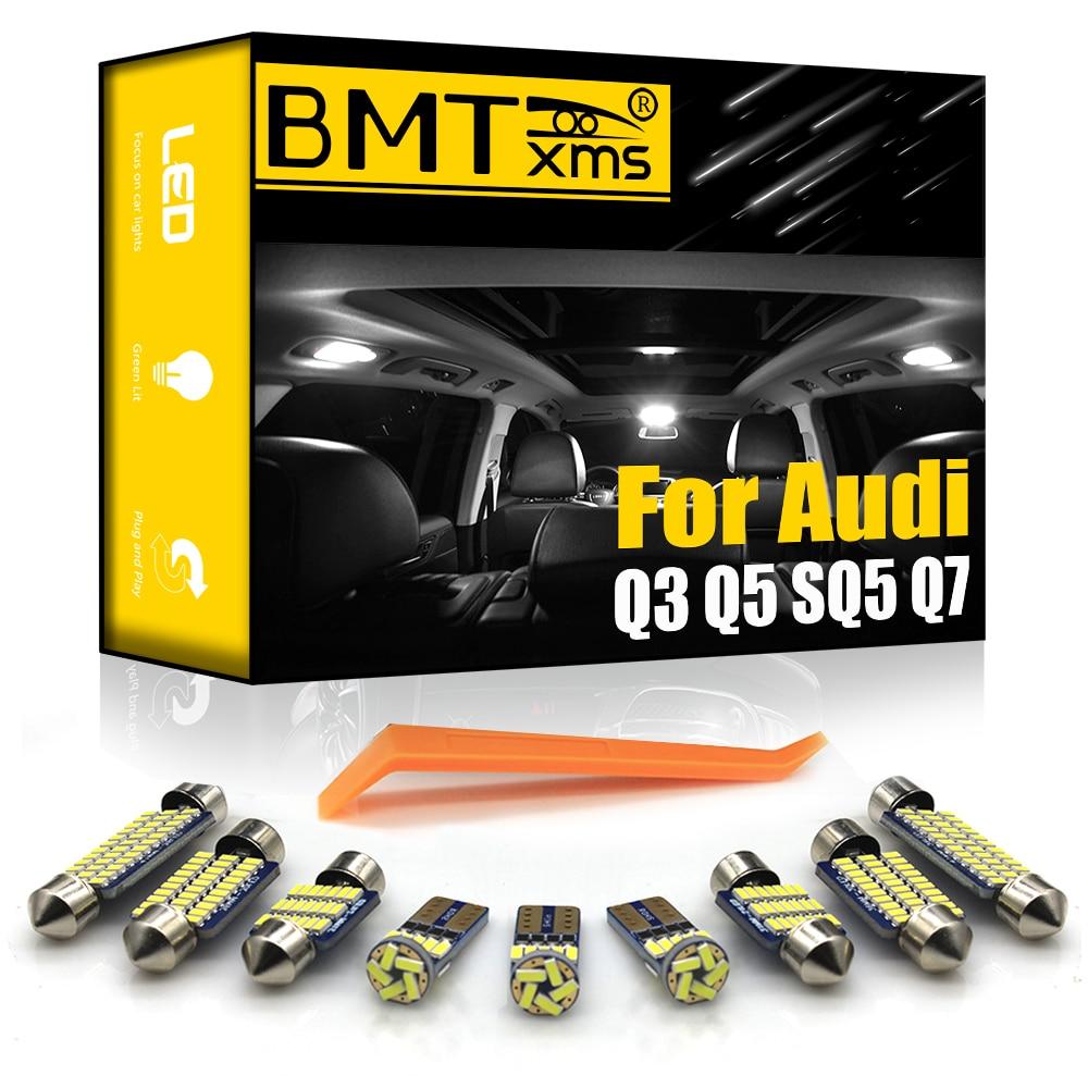 BMTxms для Audi Q3 8U Q5 8R SQ5 Q7 4L, светодиодный внутренний купол, карта багажника, перчаточный ящик, туалетное зеркало светильник, комплект Canbus, светил...