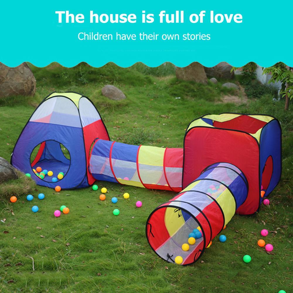Детский игровой домик для помещений и улицы, бассейн для шаров, Игровая палатка, игровая хижина, Легко складывающаяся, для девочек, сада, дет...