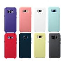 Original Flüssigkeit Silikon Fall Seidig Weich Touch Shell Cover Für Samsung Galaxy S10 Lite/S10E S8 S9 HINWEIS 8 9 10 mit Box