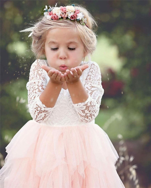 Toddler Kids Baby Girls Summer White Dresses Long Sleeve Party Prom Costume Girl Pageant Dancing Frocks Lace Tutu Layered Dress 5
