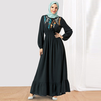 Siskakia Elegant Women's A Line Long Dress White Elastic High Waist Ruffle Swing Maxi Dresses Plus Size Embroidered Muslim Wears