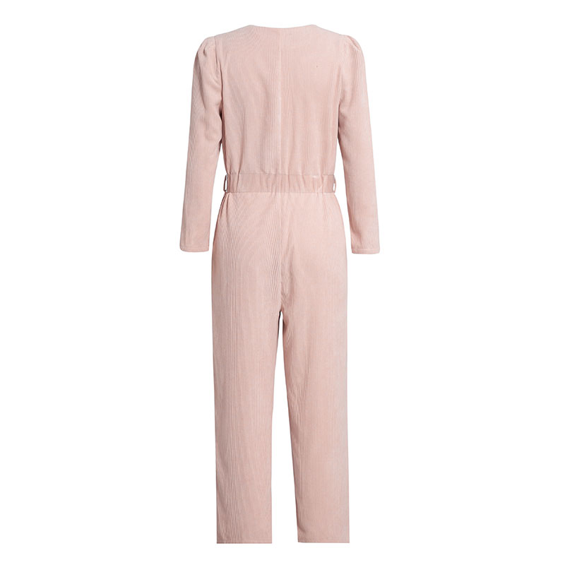 Conmoto Autumn Winter 19 Corduroy Light Pink Jumpsuits Romper Women High Fashion Button Jumpsuit Female Casual Overalls 15