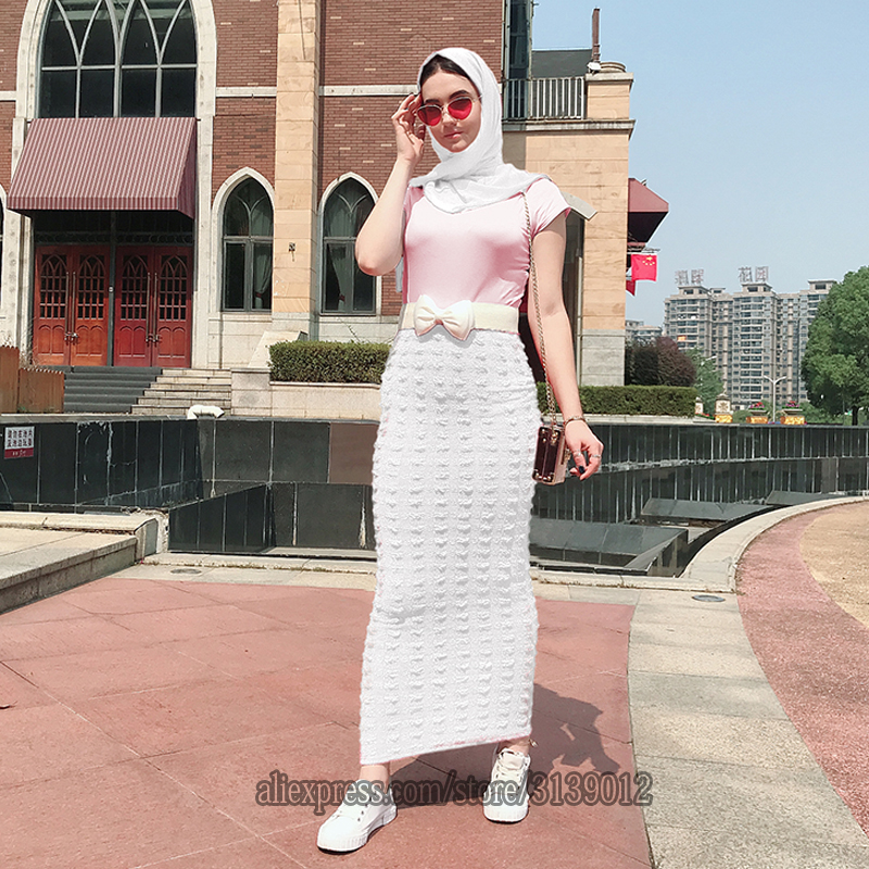 Muslim High Waist Skirt Long Islamic Skirts Womens Jupe Musulmane Femme Abaya Islam Maxi Dubai Musulman Turkey Arabic Skirts