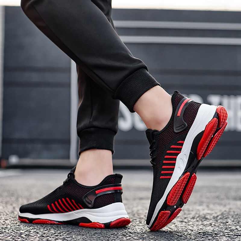 Man's Sneakers Lace Up Vulcanize รองเท้าวิ่งชายรองเท้า Breathable Comfor ตาข่ายตื้นลำลองเด็กแฟชั่น