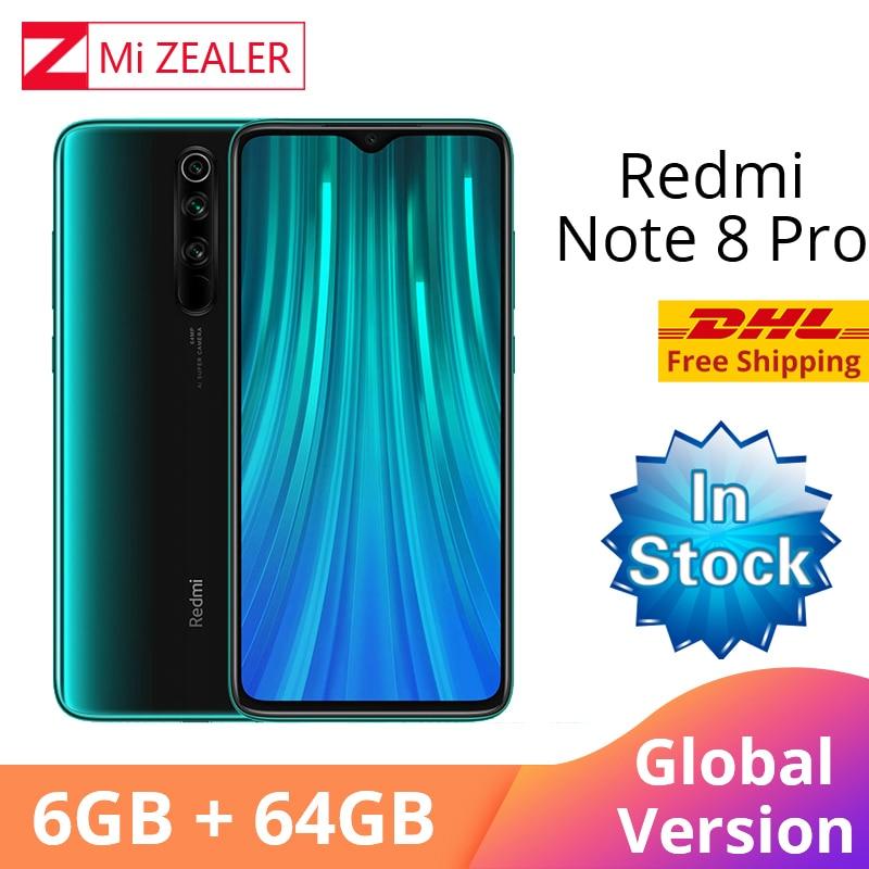 In Stock! New Global Version Xiaomi Redmi Note 8 Pro 6GB RAM 64GB ROM 4500mah Smartphone 64MP camera MTK Helio G90T cellphone-in Cellphones from Cellphones & Telecommunications