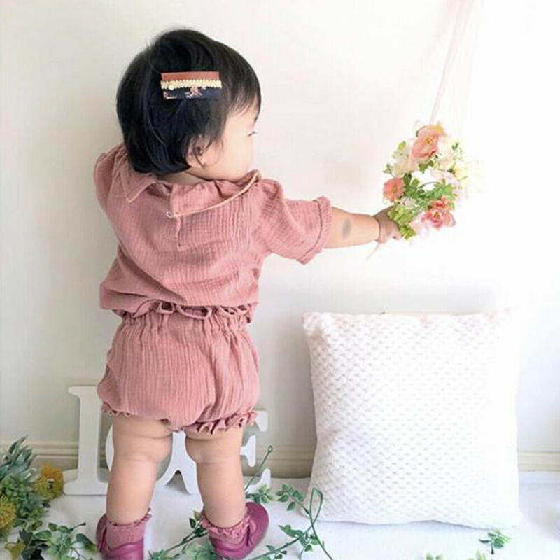 0 24M 2Pcs Cotton Linen Baby Girl Clothes Kid Girl Outfit Clothes Linen T shirt Top Shorts Pants Toddler Infant Summer Clothing in Clothing Sets from Mother Kids