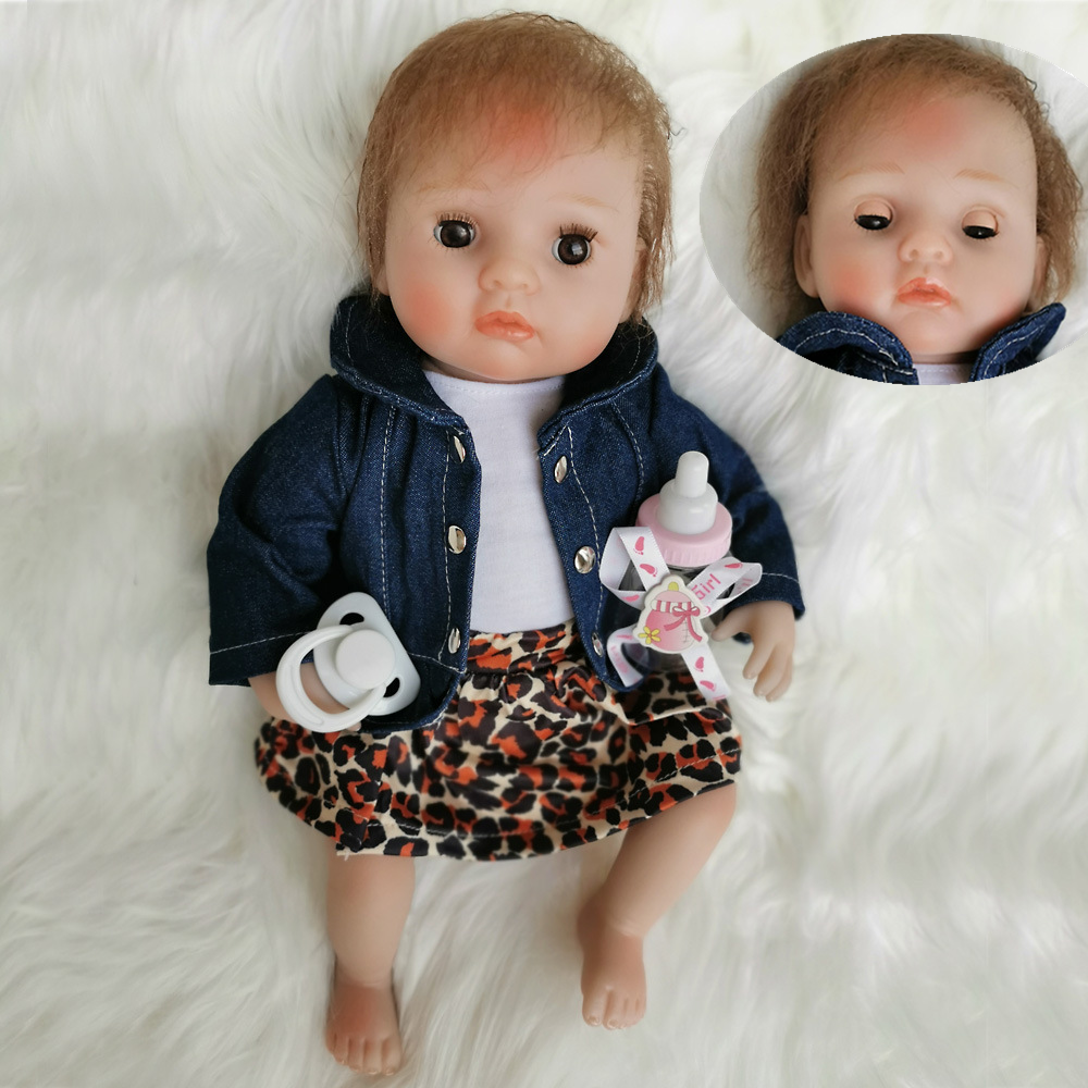 Doll Soft Body Silicone Vinyl Dolls Baby Lifelike 40cm Handmade Bliking Eyes Open Close Sleeping Newborn Playmate Birthday Xmas