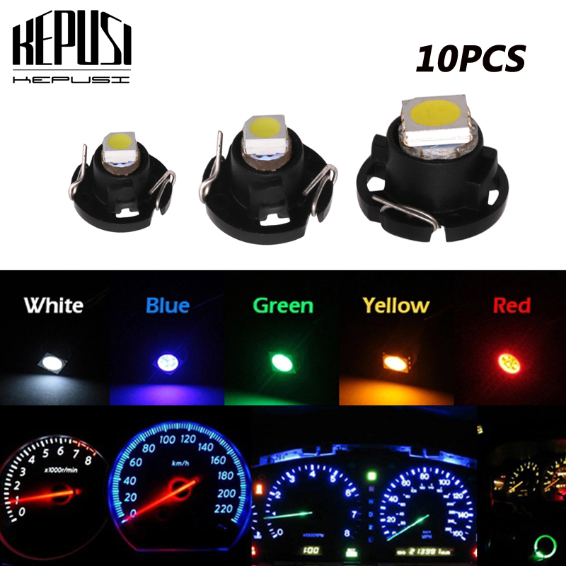 10X <font><b>T3</b></font> T4.2 T4.7 LED Light Dashboard Instrument lamp Neo Wedge Ice Blue Red Green White red Switch Radio Climate Control Bulb image