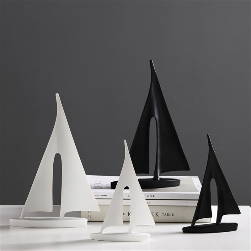 Abstract White Black Sailing Boat Miniature Model Office Desktop Decoration Ornaments Ship Figurines Business Gifts Decoration