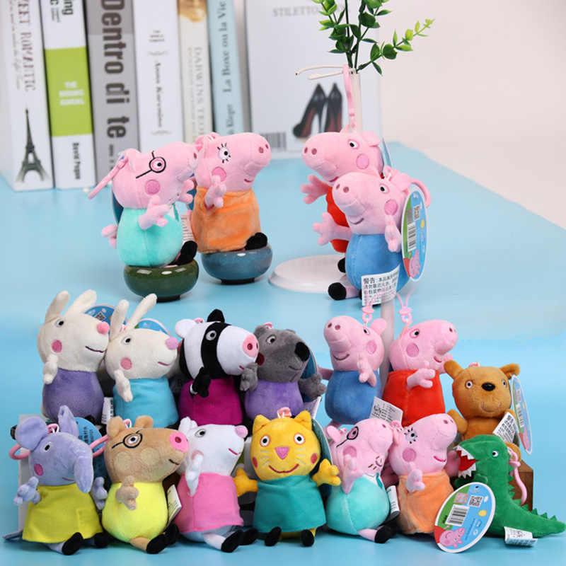 Recheado Bonecas George Papai Mamãe Peppa Pig Família e Colegas Pendents Rebecca Susie Dennie Animal de Pelúcia Brinquedos Presentes de Natal