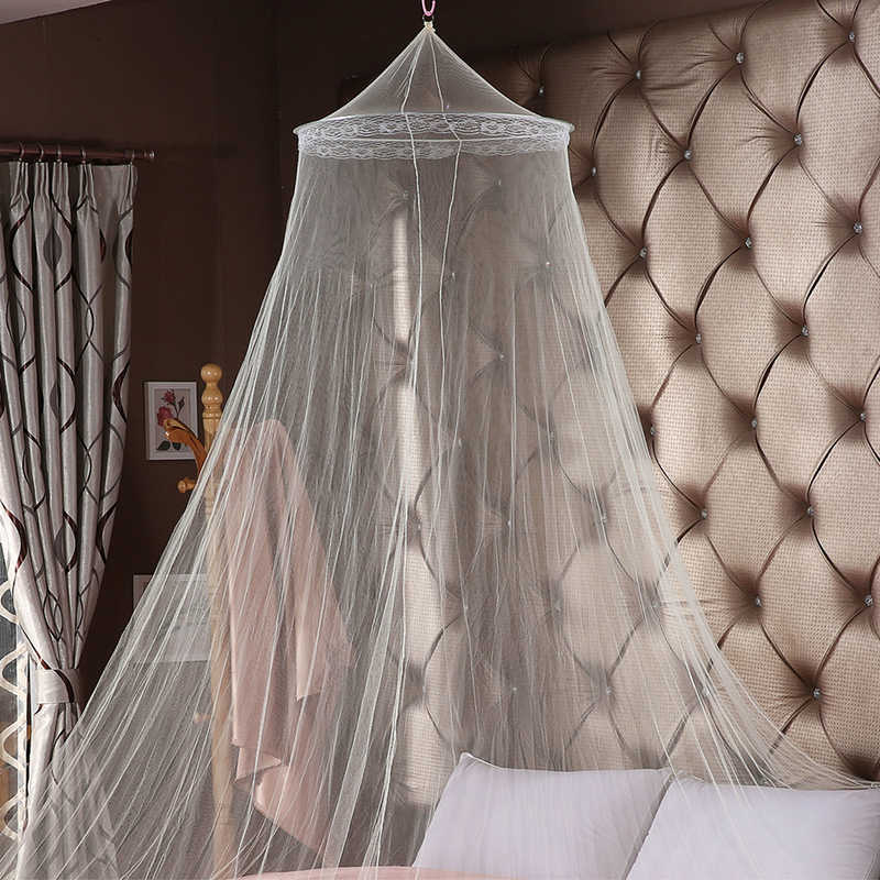 Mosquito Net White Pink Blue Round Lace Curtain Dome Bed Canopy Netting Princess Summer 2019New Romantic Hanging For Home Decor
