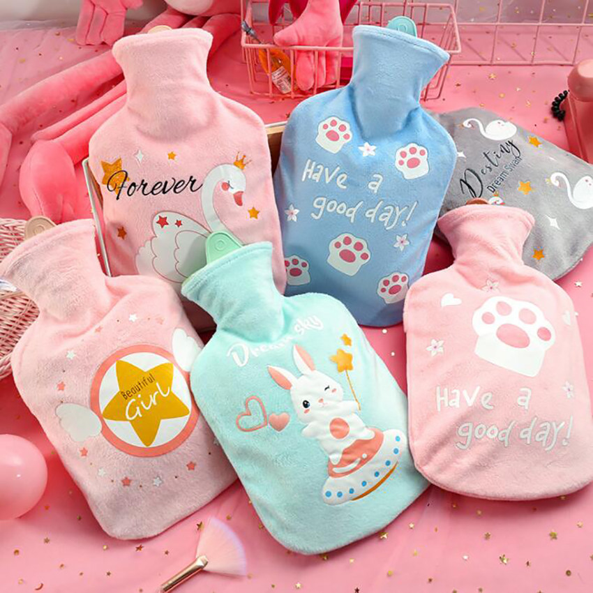 Large Hot Water Bottle with Cute Cartoon Plush Cover 1000ml Girls Kids Hand Warmer Hot Water Injection Bag for Pain Relief