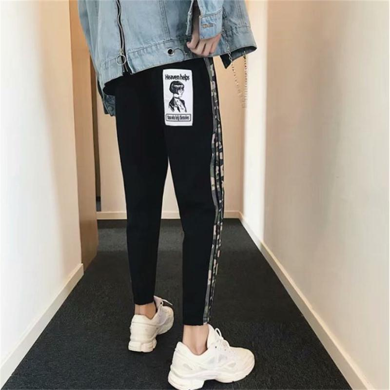 2018 Spring And Summer New Style Men Stripes Sports Ninth Pants Harem Sweatpants Summer Hong Kong Style MEN'S Pants