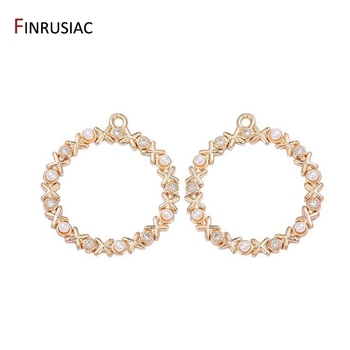 2020 New Shiny Zircon Pearl Round Circle Pendant Making Earrings Charms Necklace Fittings 14k Gold Plated Jewelry Supply