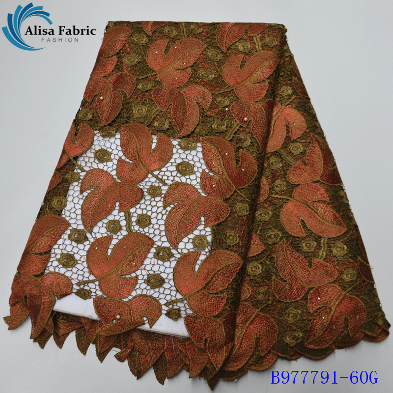 Alisa New Arrived Water Soluble Lace Fabric 2020 Fashion African Cord Lace Fabric With Embroidery For Sewing Dresses B977791-60G