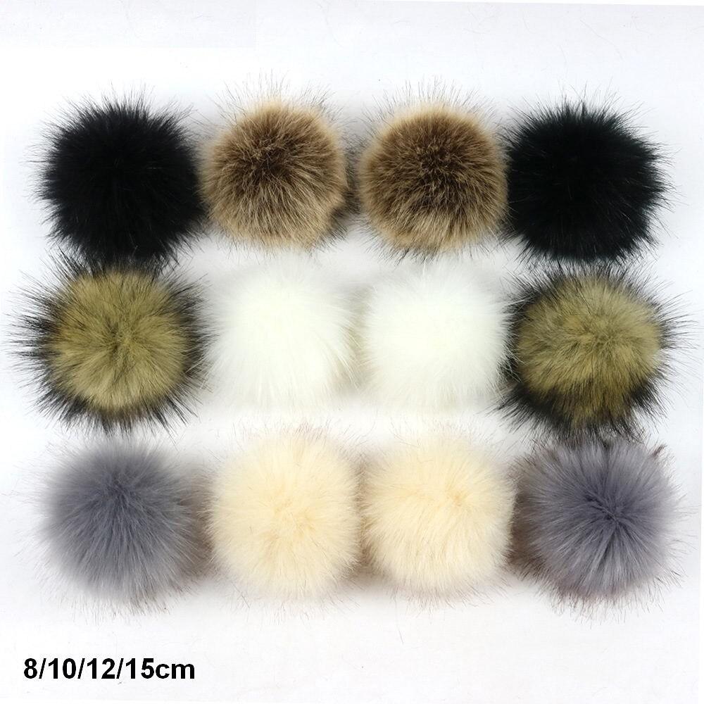 2pcs/lot 8/10/12/15cm DIY Faux Fox Fur Pompom Fur Pom Poms For Women Kids Beanie Hats Caps Fox Ball For Shoes Caps Bags F016