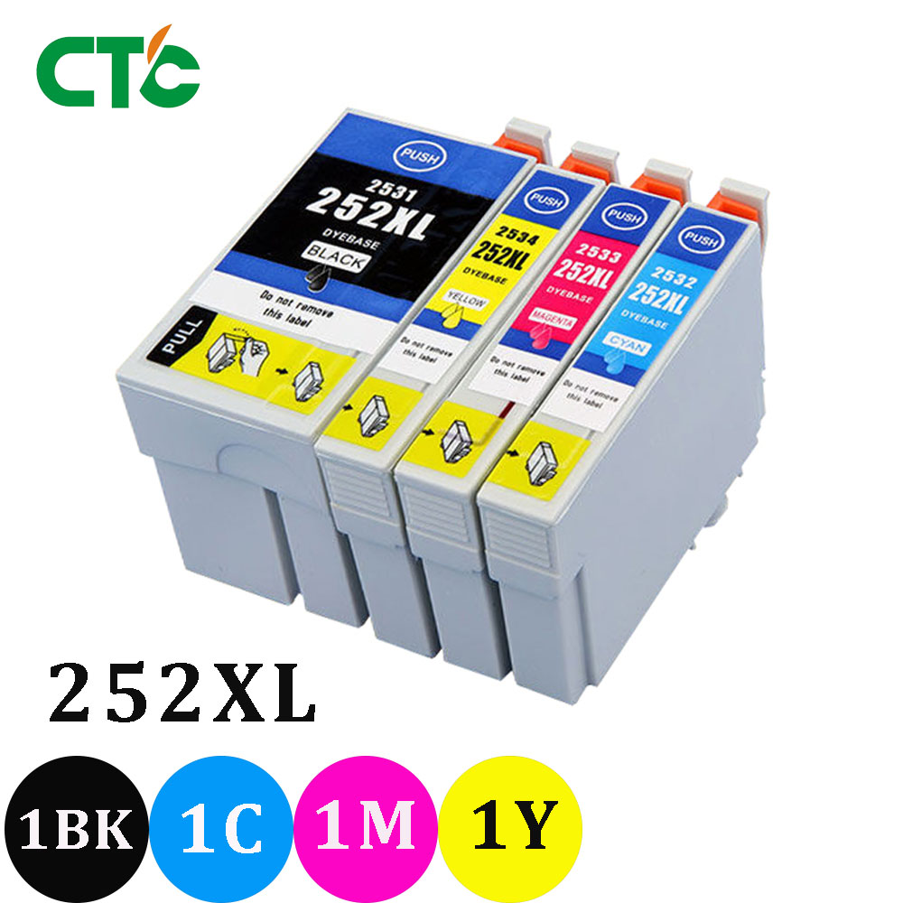 4X  252XL 252 Ink Cartridges Compatible For Epson Workforce WF 3640 WF 3640  WF 7610 WF 7620