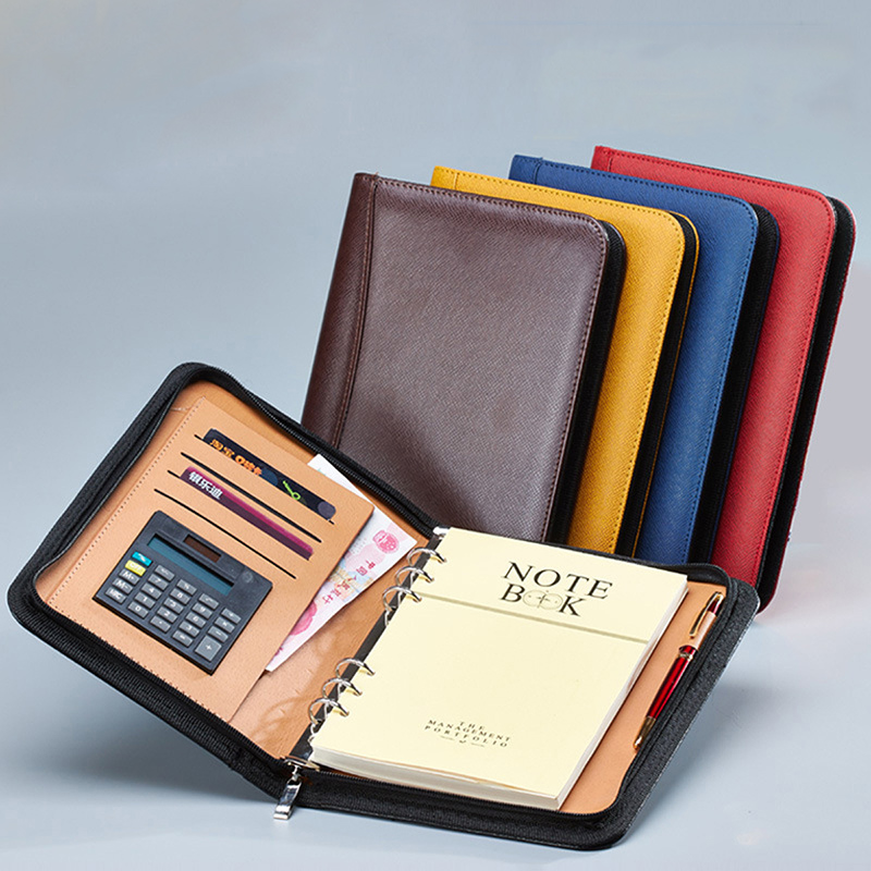 A6/A5/B5 Manager Folder Padfolio Diary Notebook And Journal Calculator Binder Spiral Note Book Business Zipper Bag Line Handbook