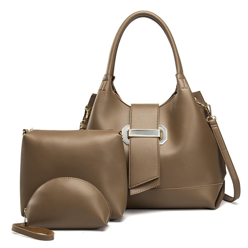 Ceossman 3 Pieces Set PU Leather Women Handbags High Quality Large Capacity Ladies Shoulder Bucket Bags Fashion Female Tote Bag