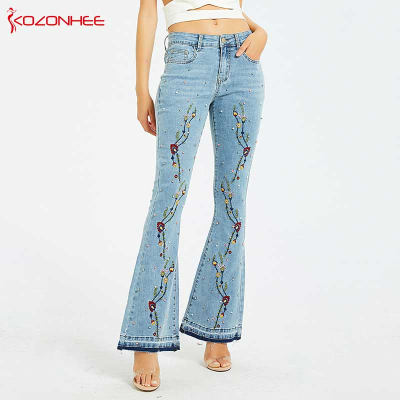 Embroidery Embroidered Flares Jeans Women Elasticity Bell-Bottoms Stretching Women Jeans For Girls Large Size #96