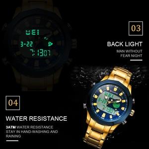 Image 4 - DUANTAI Big Dial Watch Mens Sport Watch Stainless Steel Quartz Back Light Golden Wristwatch Dual Display