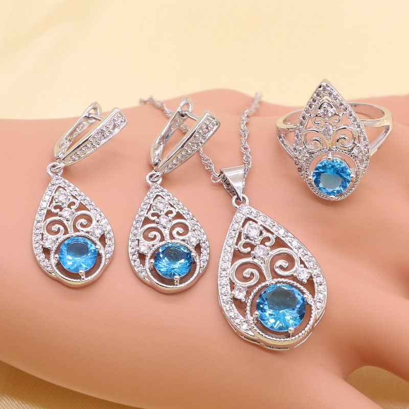 Jewelry-Sets Necklace Sky-Blue Earring Crystal Sterling-Silver Women New Austrian Overlay