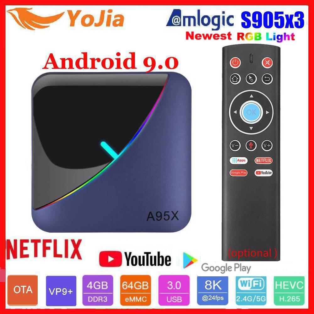 RGB Light Amlogic S905X3 Smart TV Box Android 9.0 4GB RAM 64GB ROM A95X F3 Max Support 8K Flex Media Player OTA Dual Wifi 2/16G