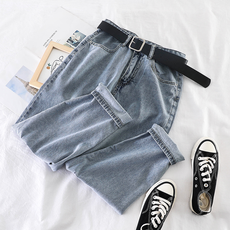Women's Jeans Wild Mom Jeans Workwear New Korean Harem Jeans Woman Super Fire High Waist Loose Elastic Woman Jeans